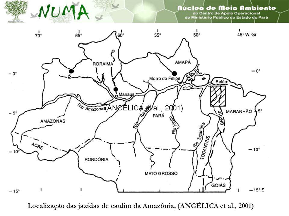 Localização das jazidas de caulim da Amazônia, (ANGÉLICA et al., 2001) (ANGÉLICA et al., 2001)