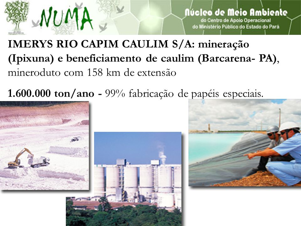 IMERYS RIO CAPIM CAULIM S/A: mineração (Ipixuna) e beneficiamento de caulim (Barcarena- PA), mineroduto com 158 km de extensão 1.600.000 ton/ano - 99% fabricação de papéis especiais.