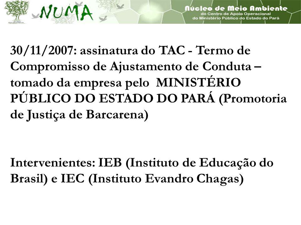 30/11/2007: assinatura do TAC - Termo de Compromisso de Ajustamento de Conduta – tomado da empresa pelo MINISTÉRIO PÚBLICO DO ESTADO DO PARÁ (Promotoria de Justiça de Barcarena) Intervenientes: IEB (Instituto de Educação do Brasil) e IEC (Instituto Evandro Chagas)