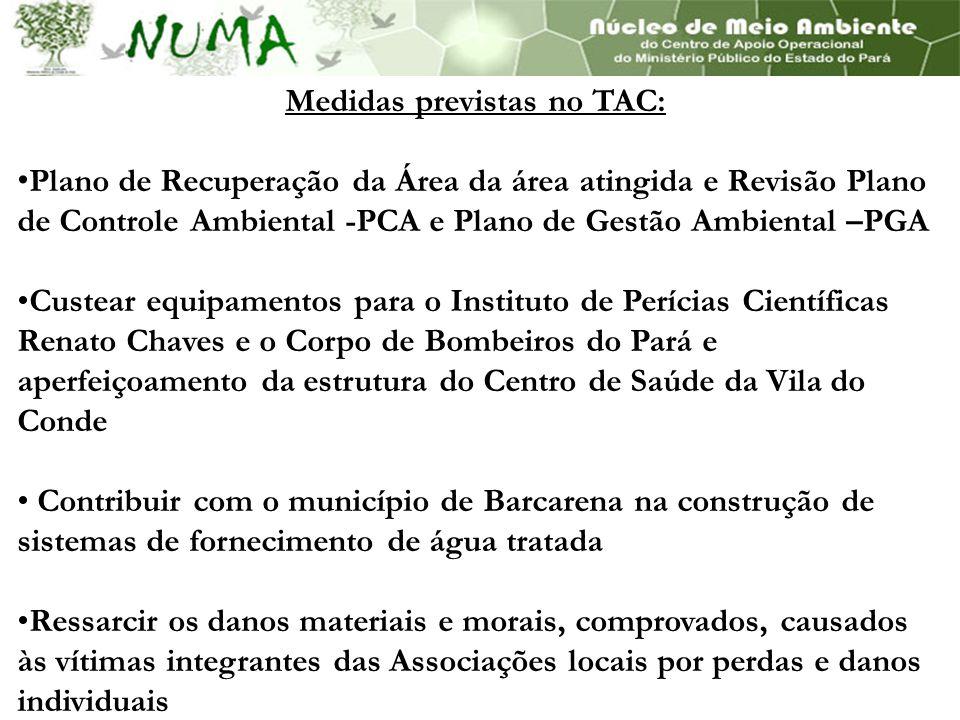 Medidas previstas no TAC: Plano de Recuperação da Área da área atingida e Revisão Plano de Controle Ambiental -PCA e Plano de Gestão Ambiental –PGA Cu