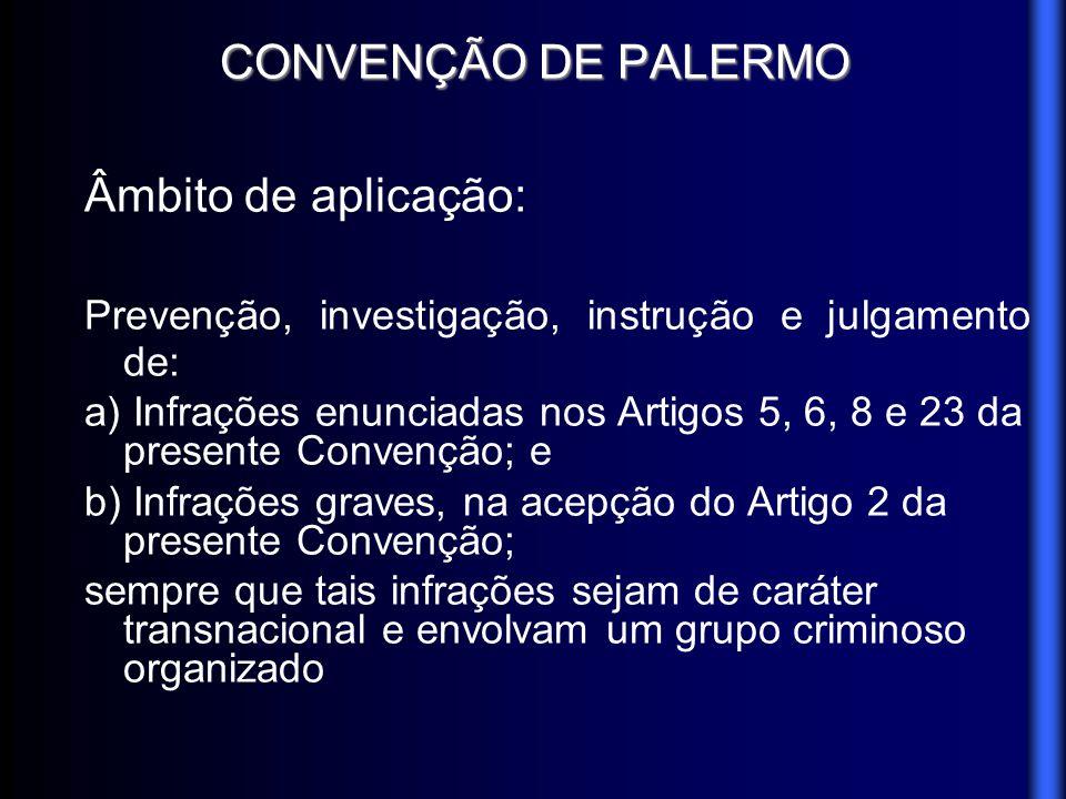 CONVENÇÃO DE PALERMO Âmbito de aplicação: Prevenção, investigação, instrução e julgamento de: a) Infrações enunciadas nos Artigos 5, 6, 8 e 23 da pres