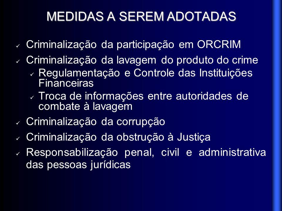 MEDIDAS A SEREM ADOTADAS Criminalização da participação em ORCRIM Criminalização da lavagem do produto do crime Regulamentação e Controle das Institui