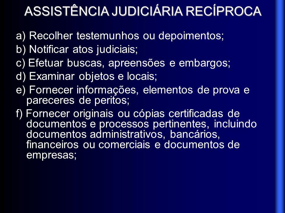 ASSISTÊNCIA JUDICIÁRIA RECÍPROCA a) Recolher testemunhos ou depoimentos; b) Notificar atos judiciais; c) Efetuar buscas, apreensões e embargos; d) Exa