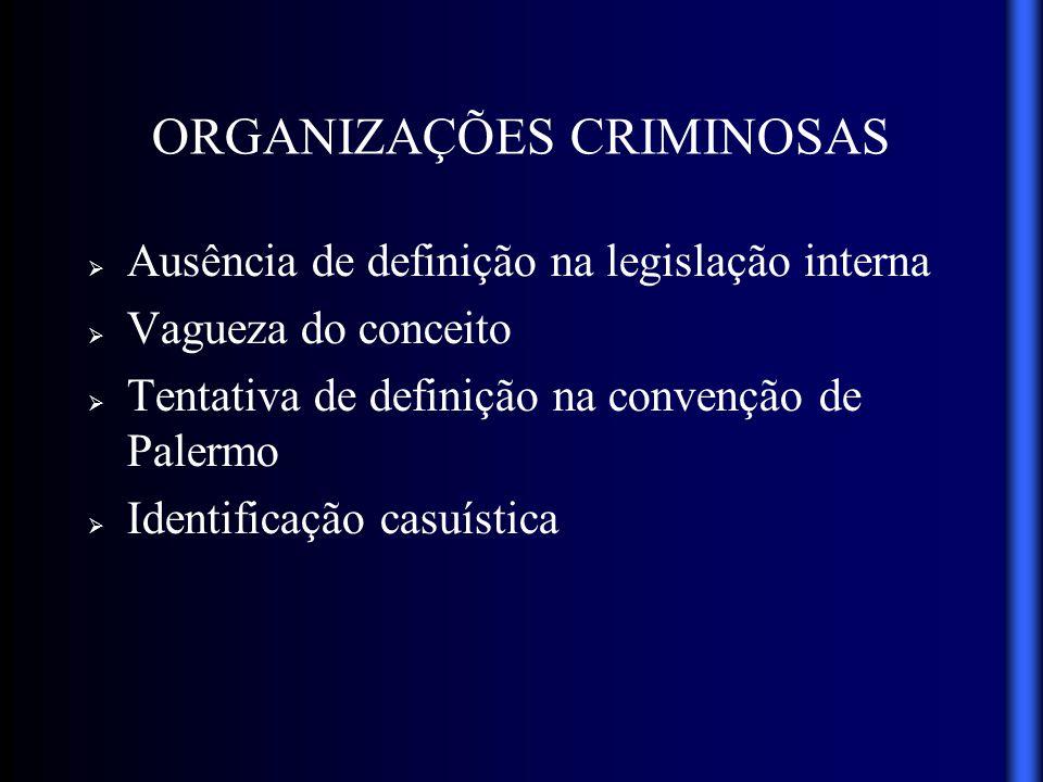 ORGANIZAÇÕES CRIMINOSAS Ausência de definição na legislação interna Vagueza do conceito Tentativa de definição na convenção de Palermo Identificação c