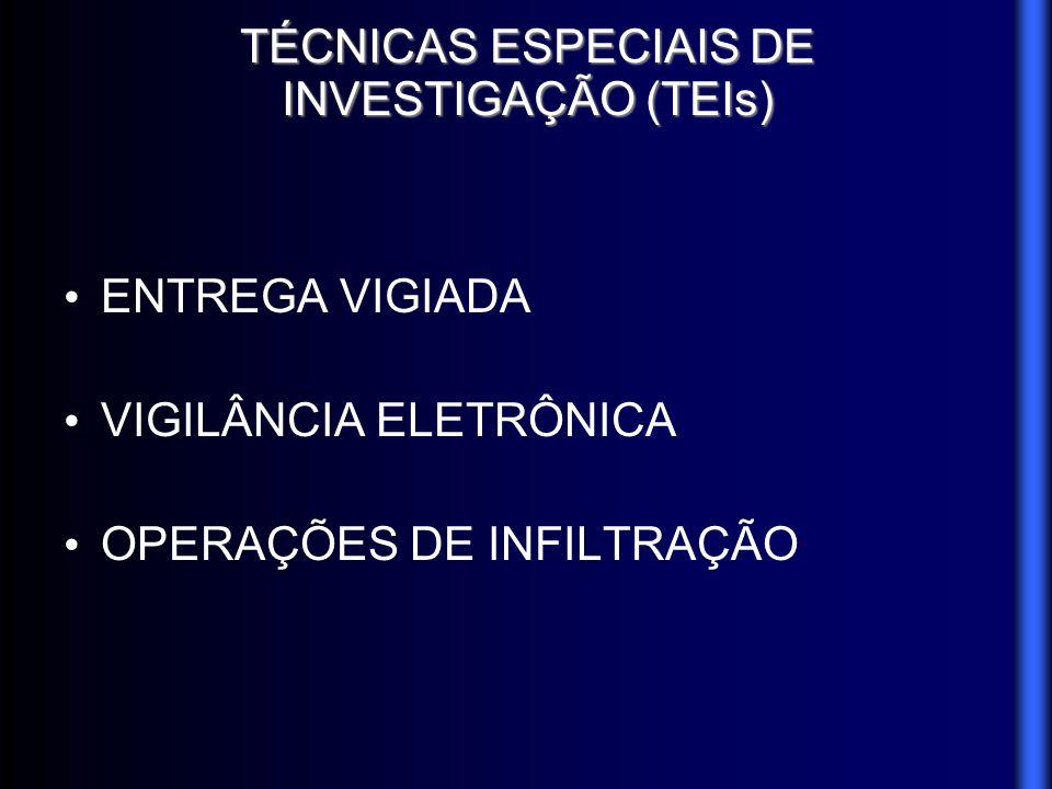TÉCNICAS ESPECIAIS DE INVESTIGAÇÃO (TEIs) ENTREGA VIGIADA VIGILÂNCIA ELETRÔNICA OPERAÇÕES DE INFILTRAÇÃO