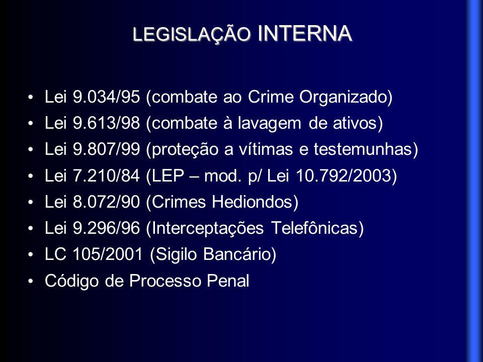 LEGISLAÇÃO INTERNA Lei 9.034/95 (combate ao Crime Organizado) Lei 9.613/98 (combate à lavagem de ativos) Lei 9.807/99 (proteção a vítimas e testemunha