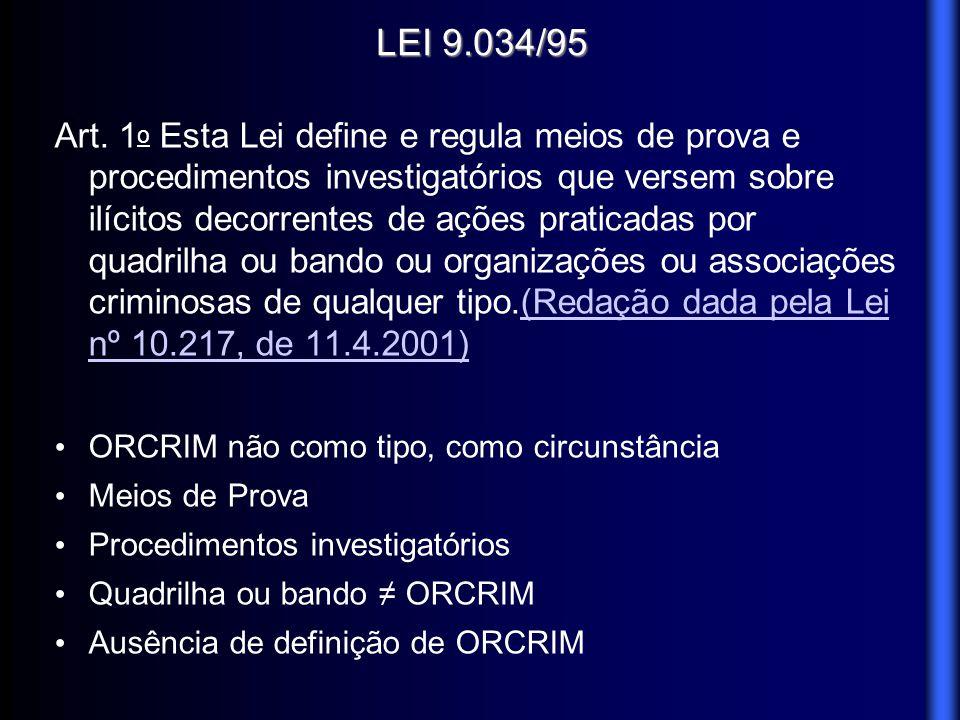 LEI 9.034/95 Art. 1 o Esta Lei define e regula meios de prova e procedimentos investigatórios que versem sobre ilícitos decorrentes de ações praticada