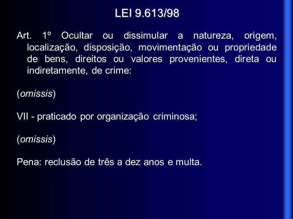 LEI 9.613/98 Art. 1º Ocultar ou dissimular a natureza, origem, localização, disposição, movimentação ou propriedade de bens, direitos ou valores prove