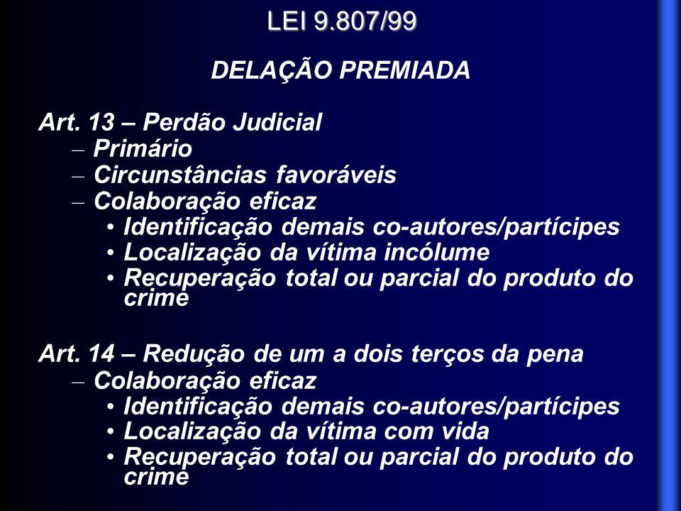 LEI 9.807/99 DELAÇÃO PREMIADA Art. 13 – Perdão Judicial – Primário – Circunstâncias favoráveis – Colaboração eficaz Identificação demais co-autores/pa