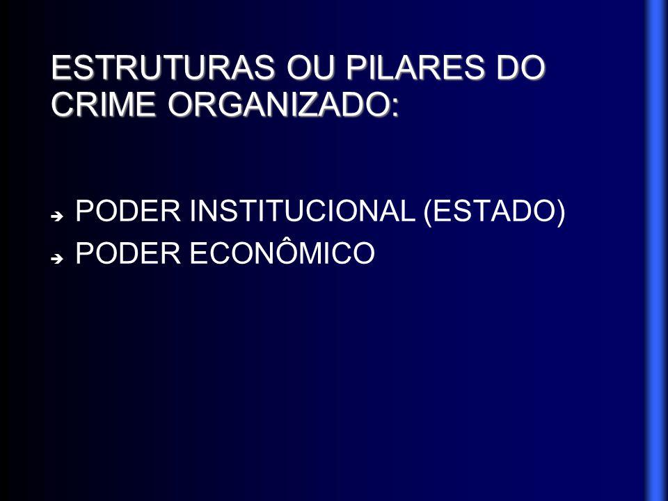 ESTRUTURAS OU PILARES DO CRIME ORGANIZADO: PODER INSTITUCIONAL (ESTADO) PODER ECONÔMICO