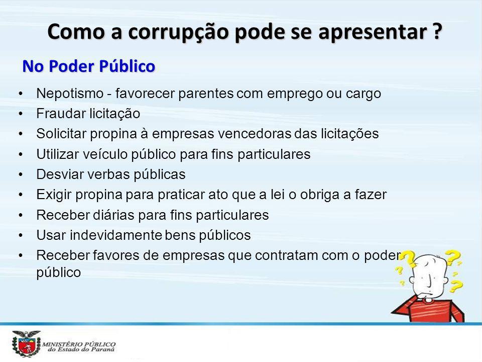 Como a corrupção pode se apresentar ? No Poder Público Nepotismo - favorecer parentes com emprego ou cargo Fraudar licitação Solicitar propina à empre