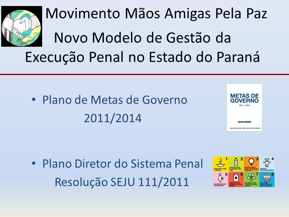 Novo Modelo de Gestão da Execução Penal no Estado do Paraná Plano de Metas de Governo 2011/2014 Plano Diretor do Sistema Penal Resolução SEJU 111/2011 Movimento Mãos Amigas Pela Paz