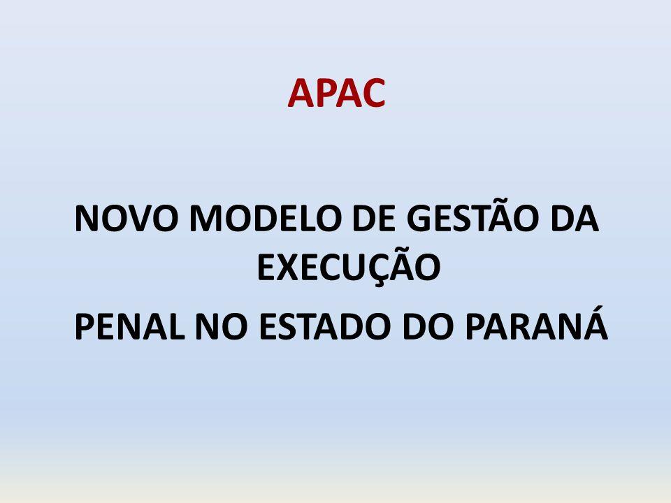 APAC NOVO MODELO DE GESTÃO DA EXECUÇÃO PENAL NO ESTADO DO PARANÁ