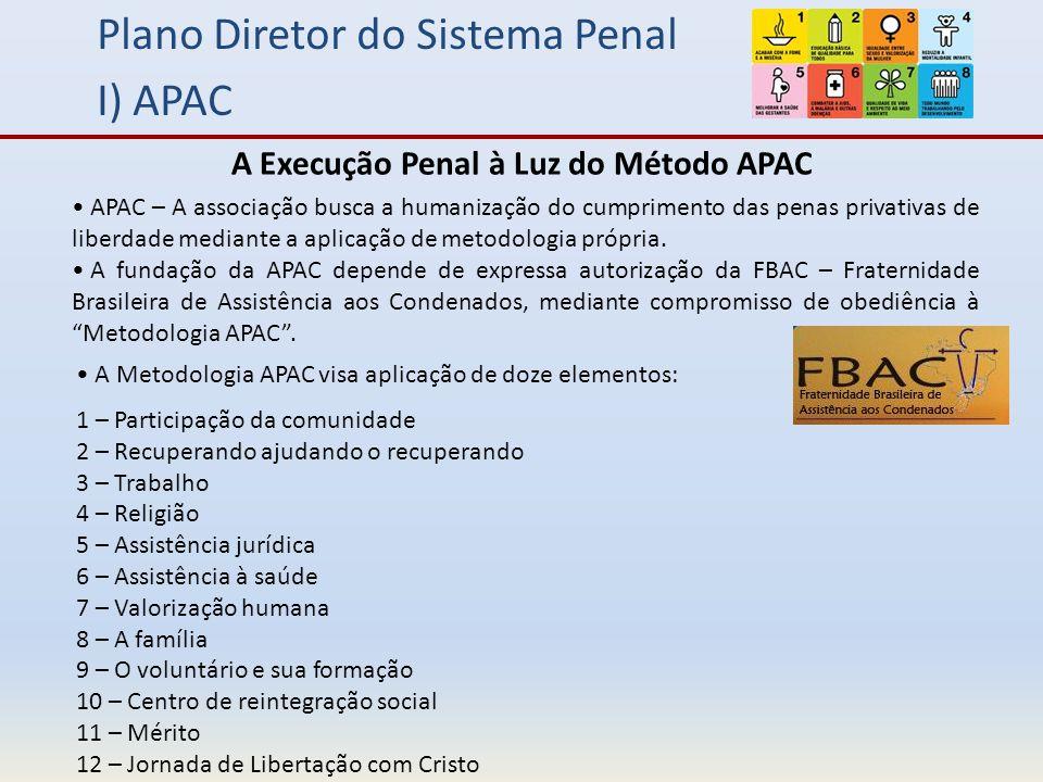 Plano Diretor do Sistema Penal I) APAC APAC – A associação busca a humanização do cumprimento das penas privativas de liberdade mediante a aplicação de metodologia própria.