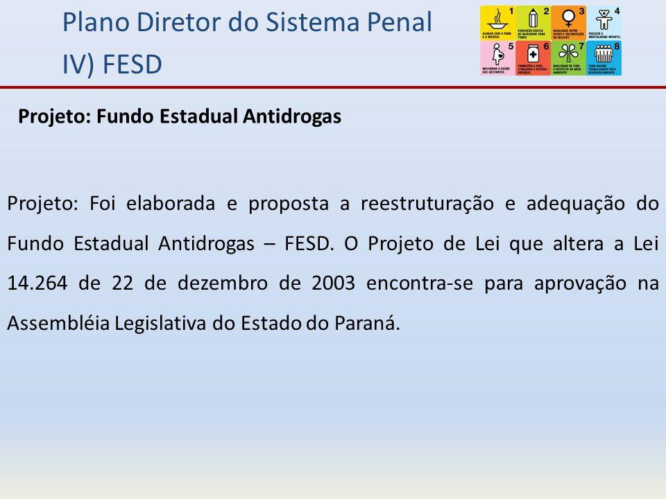 Plano Diretor do Sistema Penal IV) FESD Projeto: Foi elaborada e proposta a reestruturação e adequação do Fundo Estadual Antidrogas – FESD.
