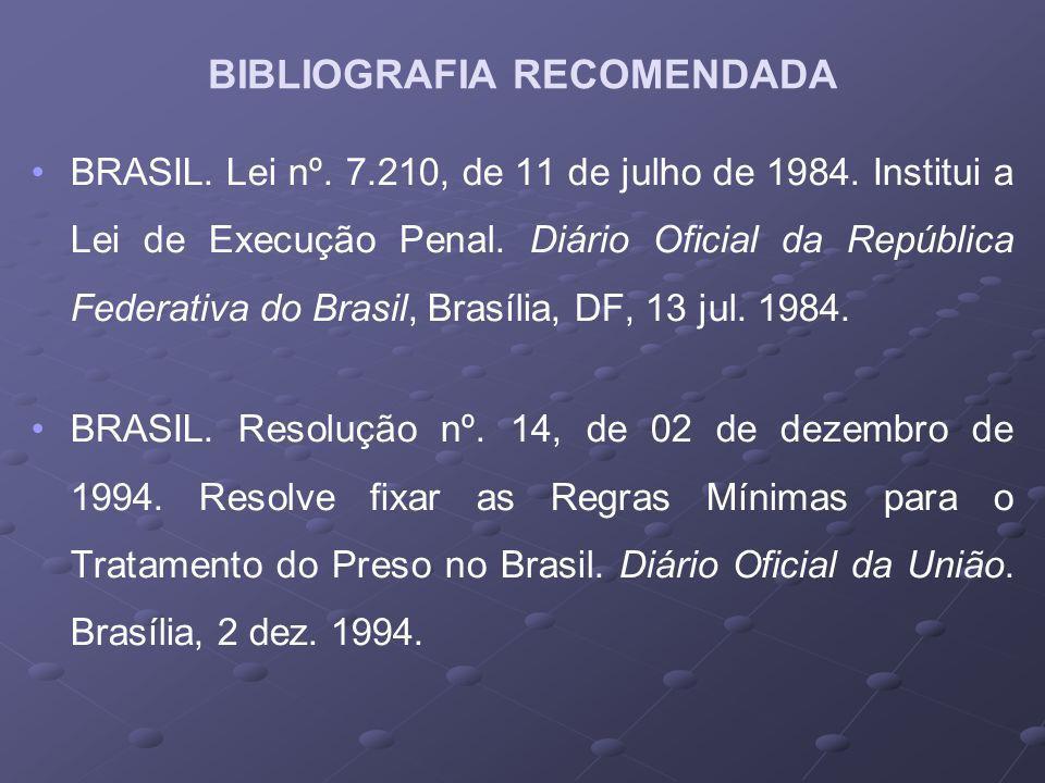 BRASIL.Lei nº. 7.210, de 11 de julho de 1984. Institui a Lei de Execução Penal.