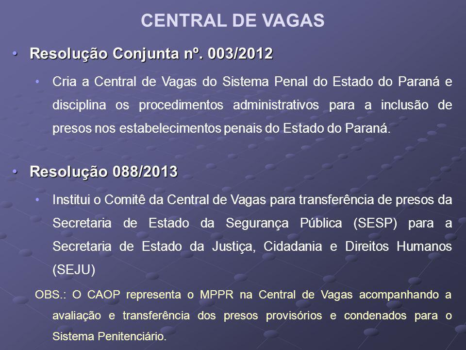 CENTRAL DE VAGAS Resolução Conjunta nº.003/2012Resolução Conjunta nº.