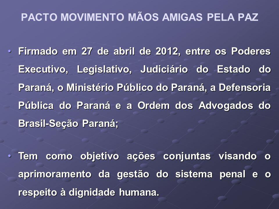 PACTO MOVIMENTO MÃOS AMIGAS PELA PAZ Firmado em 27 de abril de 2012, entre os Poderes Executivo, Legislativo, Judiciário do Estado do Paraná, o Ministério Público do Paraná, a Defensoria Pública do Paraná e a Ordem dos Advogados do Brasil-Seção Paraná;Firmado em 27 de abril de 2012, entre os Poderes Executivo, Legislativo, Judiciário do Estado do Paraná, o Ministério Público do Paraná, a Defensoria Pública do Paraná e a Ordem dos Advogados do Brasil-Seção Paraná; Tem como objetivo ações conjuntas visando o aprimoramento da gestão do sistema penal e o respeito à dignidade humana.Tem como objetivo ações conjuntas visando o aprimoramento da gestão do sistema penal e o respeito à dignidade humana.