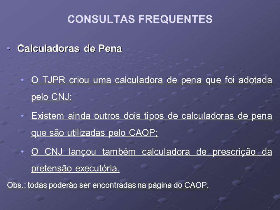 Calculadoras de PenaCalculadoras de Pena O TJPR criou uma calculadora de pena que foi adotada pelo CNJ; Existem ainda outros dois tipos de calculadora