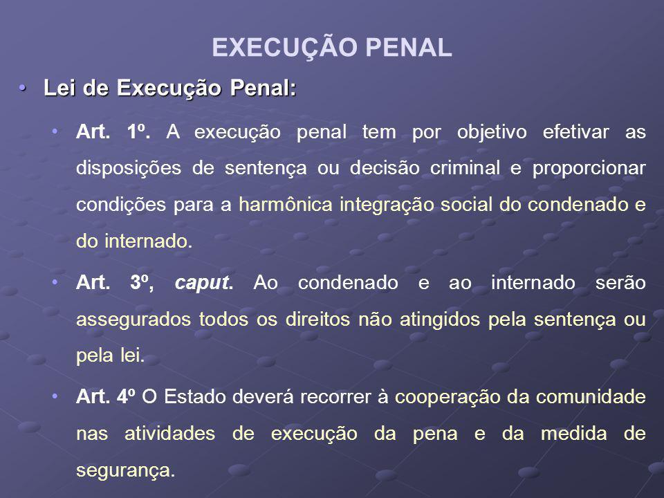 Lei de Execução Penal:Lei de Execução Penal: Art. 1º. A execução penal tem por objetivo efetivar as disposições de sentença ou decisão criminal e prop
