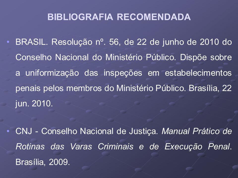 BRASIL. Resolução nº. 56, de 22 de junho de 2010 do Conselho Nacional do Ministério Público. Dispõe sobre a uniformização das inspeções em estabelecim