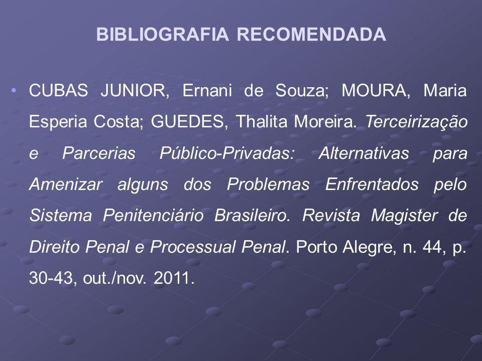 CUBAS JUNIOR, Ernani de Souza; MOURA, Maria Esperia Costa; GUEDES, Thalita Moreira. Terceirização e Parcerias Público-Privadas: Alternativas para Amen