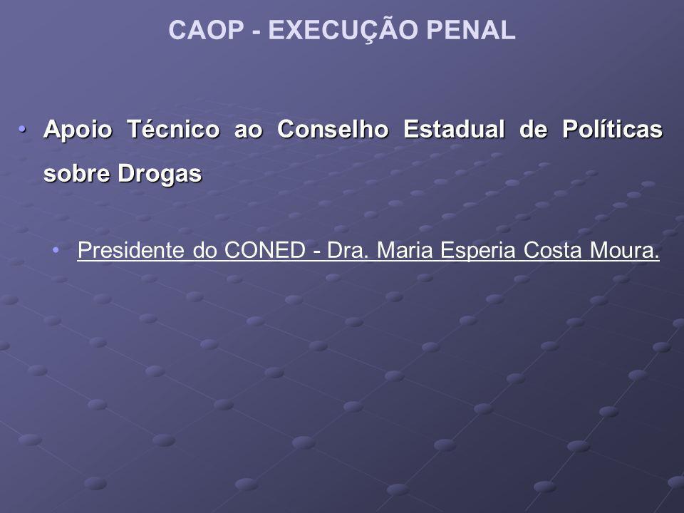 CAOP - EXECUÇÃO PENAL Apoio Técnico ao Conselho Estadual de Políticas sobre DrogasApoio Técnico ao Conselho Estadual de Políticas sobre Drogas Preside