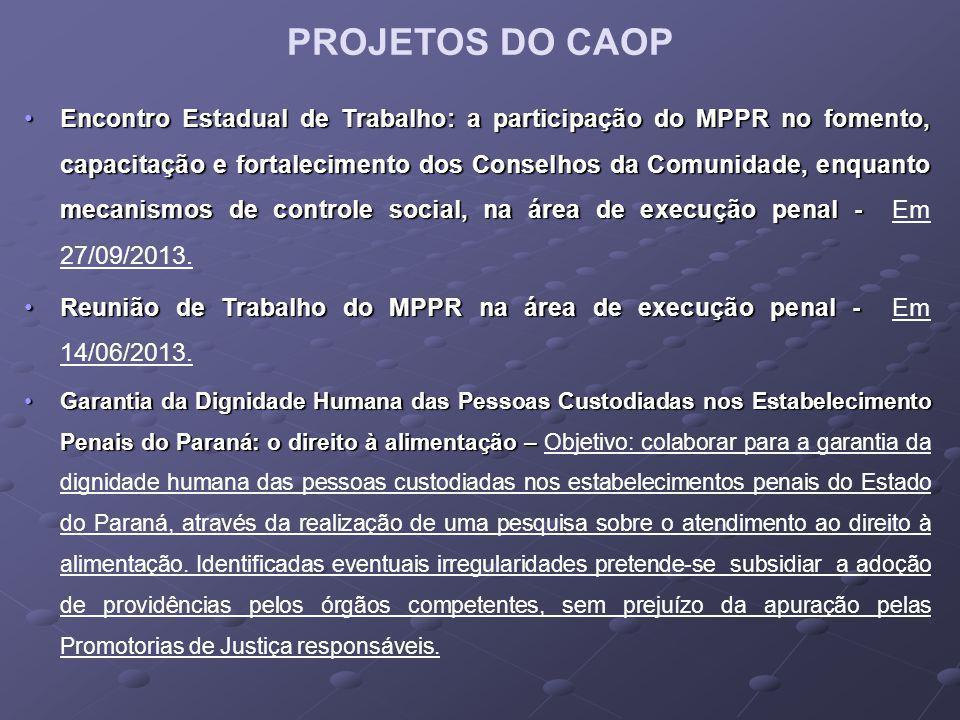 PROJETOS DO CAOP Encontro Estadual de Trabalho: a participação do MPPR no fomento, capacitação e fortalecimento dos Conselhos da Comunidade, enquanto