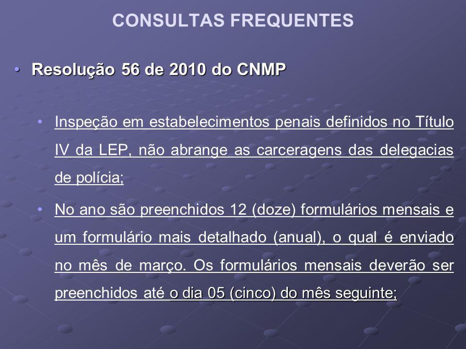 Resolução 56 de 2010 do CNMPResolução 56 de 2010 do CNMP Inspeção em estabelecimentos penais definidos no Título IV da LEP, não abrange as carceragens