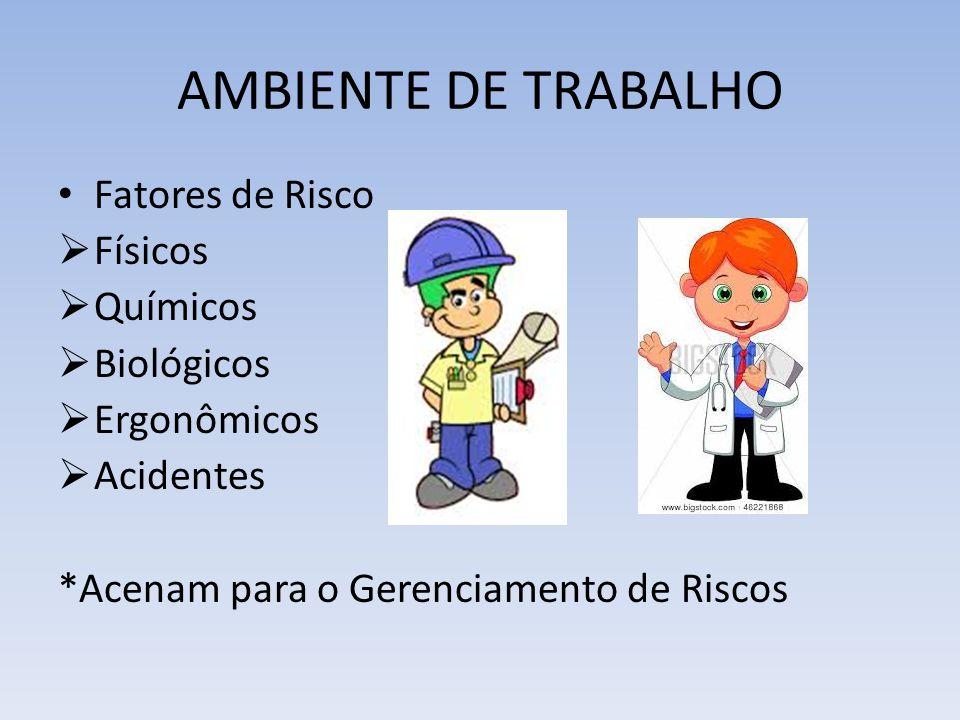 AMBIENTE DE TRABALHO Fatores de Risco Físicos Químicos Biológicos Ergonômicos Acidentes *Acenam para o Gerenciamento de Riscos