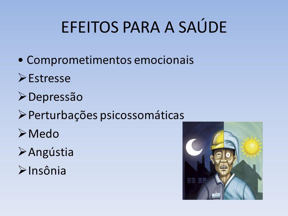 EFEITOS PARA A SAÚDE Comprometimentos emocionais Estresse Depressão Perturbações psicossomáticas Medo Angústia Insônia