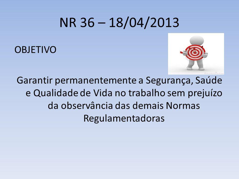 NR 36 – 18/04/2013 OBJETIVO Garantir permanentemente a Segurança, Saúde e Qualidade de Vida no trabalho sem prejuízo da observância das demais Normas Regulamentadoras