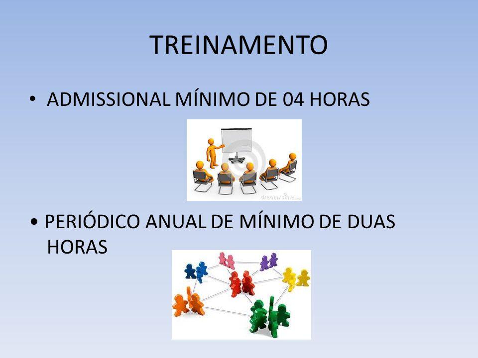 TREINAMENTO ADMISSIONAL MÍNIMO DE 04 HORAS PERIÓDICO ANUAL DE MÍNIMO DE DUAS HORAS