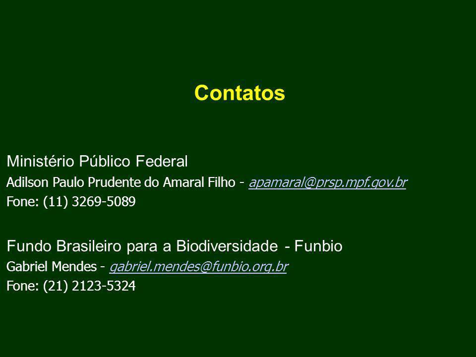 Contatos Ministério Público Federal Adilson Paulo Prudente do Amaral Filho - apamaral@prsp.mpf.gov.brapamaral@prsp.mpf.gov.br Fone: (11) 3269-5089 Fundo Brasileiro para a Biodiversidade - Funbio Gabriel Mendes - gabriel.mendes@funbio.org.brgabriel.mendes@funbio.org.br Fone: (21) 2123-5324