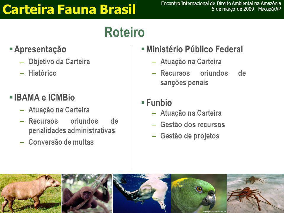 Comissão Técnica de Fauna Encontro Internacional de Direito Ambiental na Amazônia 5 de março de 2009 - Macapá/AP Carteira Fauna Brasil Composição: 1 membro do MPF 1 membro do ICMBio 1 membro do IBAMA 2 membros do CD do Funbio Algumas atribuições: Indicar prioridades para o uso dos recursos; Avaliar e recomendar ao CD a seleção de projetos a serem apoiados; Indicar diretrizes técnicas para atendimento dos objetivos da Carteira; Realizar a articulação institucional com as diversas esferas de Governo.
