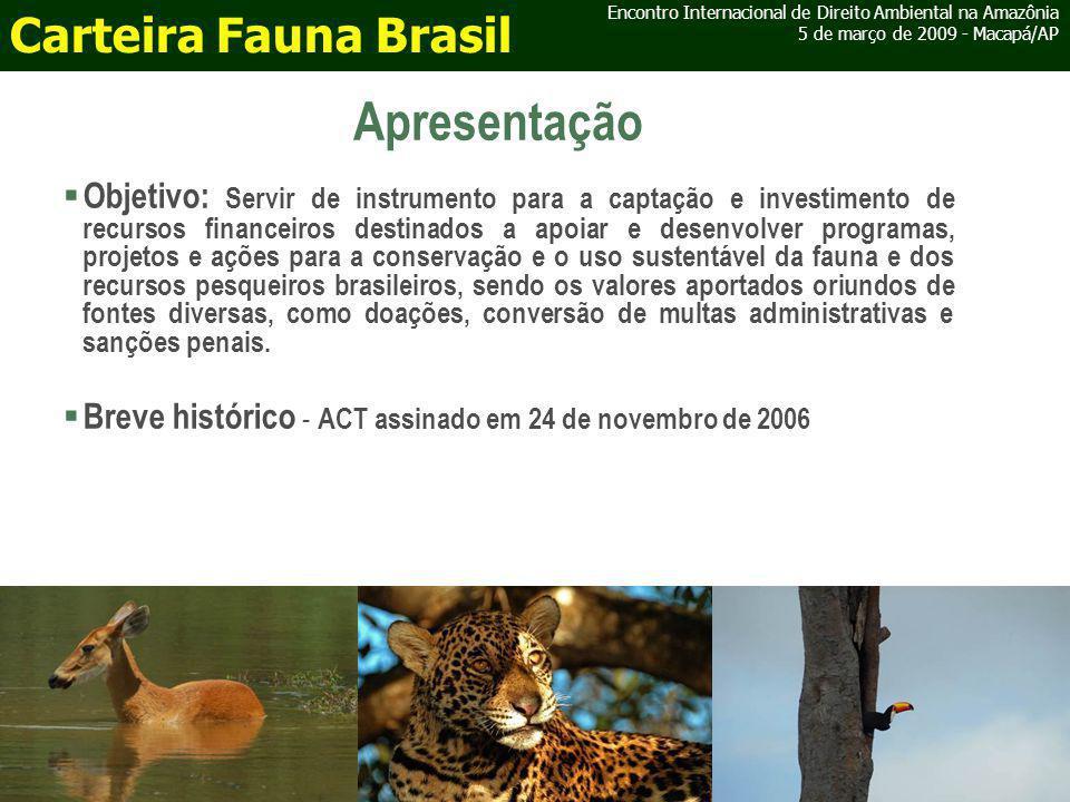 IBAMA e ICMbio Encontro Internacional de Direito Ambiental na Amazônia 5 de março de 2009 - Macapá/AP Carteira Fauna Brasil Atuação na Carteira Recursos oriundos de penalidades administrativas Conversão de Multas Foto: Daniela Lerda - Funbio