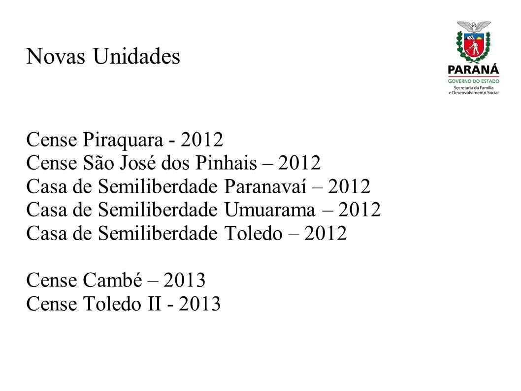 Novas Unidades Cense Piraquara - 2012 Cense São José dos Pinhais – 2012 Casa de Semiliberdade Paranavaí – 2012 Casa de Semiliberdade Umuarama – 2012 C