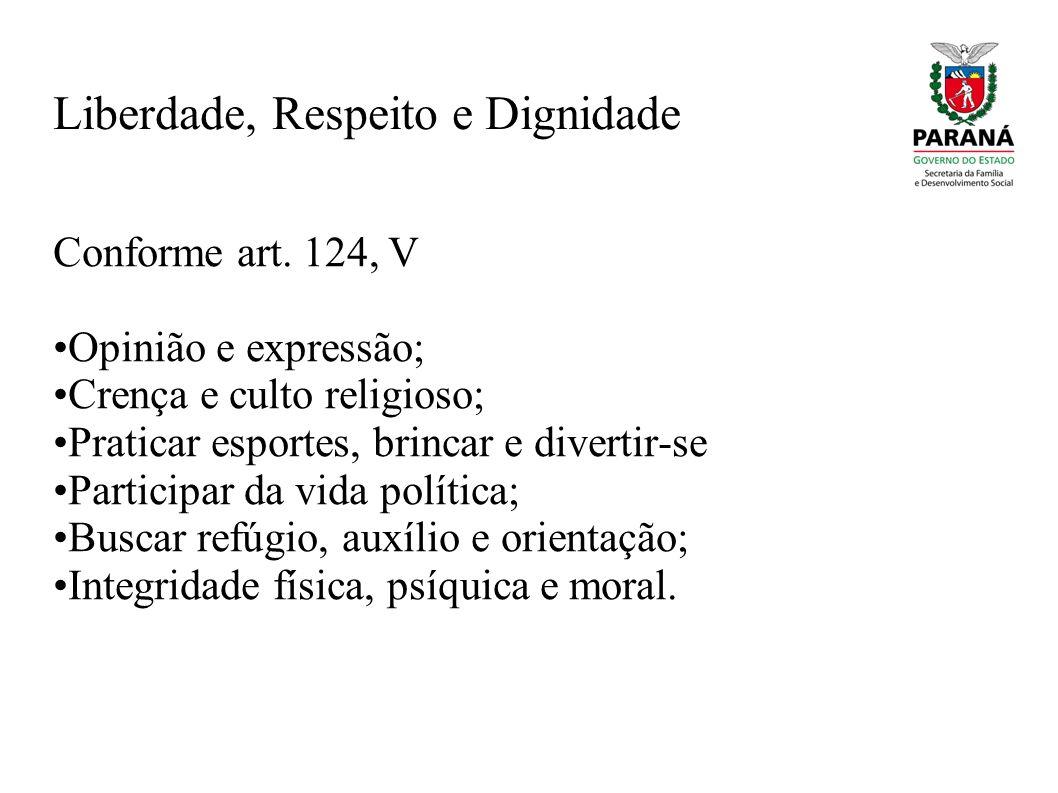 Liberdade, Respeito e Dignidade Conforme art. 124, V Opinião e expressão; Crença e culto religioso; Praticar esportes, brincar e divertir-se Participa