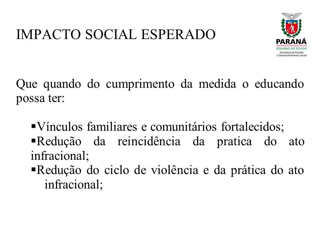 IMPACTO SOCIAL ESPERADO Que quando do cumprimento da medida o educando possa ter: Vínculos familiares e comunitários fortalecidos; Redução da reincidê