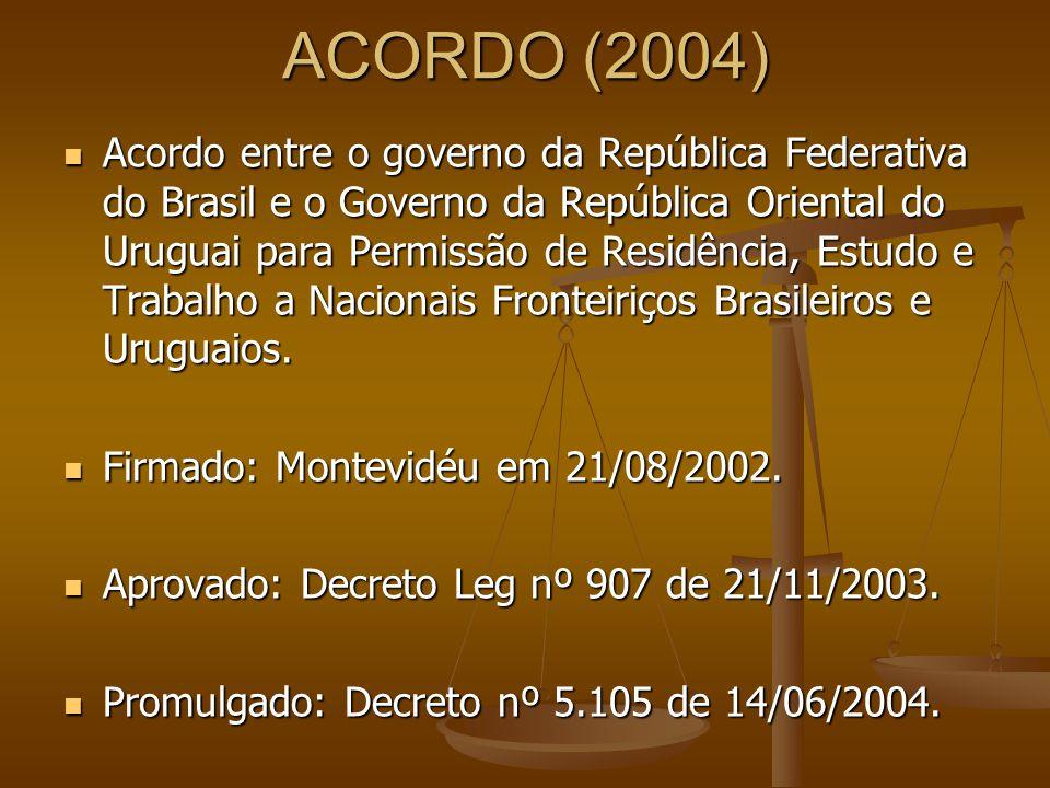 ACORDO (2004) Acordo entre o governo da República Federativa do Brasil e o Governo da República Oriental do Uruguai para Permissão de Residência, Estu