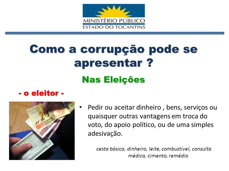 Nas Eleições Pedir ou aceitar dinheiro, bens, serviços ou quaisquer outras vantagens em troca do voto, do apoio político, ou de uma simples adesivação.