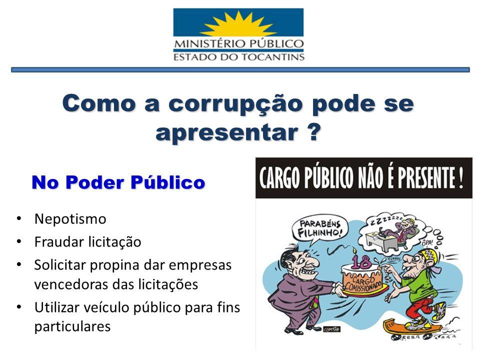 Desvio de verbas públicas Exigência de propina para praticar ato que a lei obriga fazer Receber diárias para fins particulares Como a corrupção pode se apresentar .