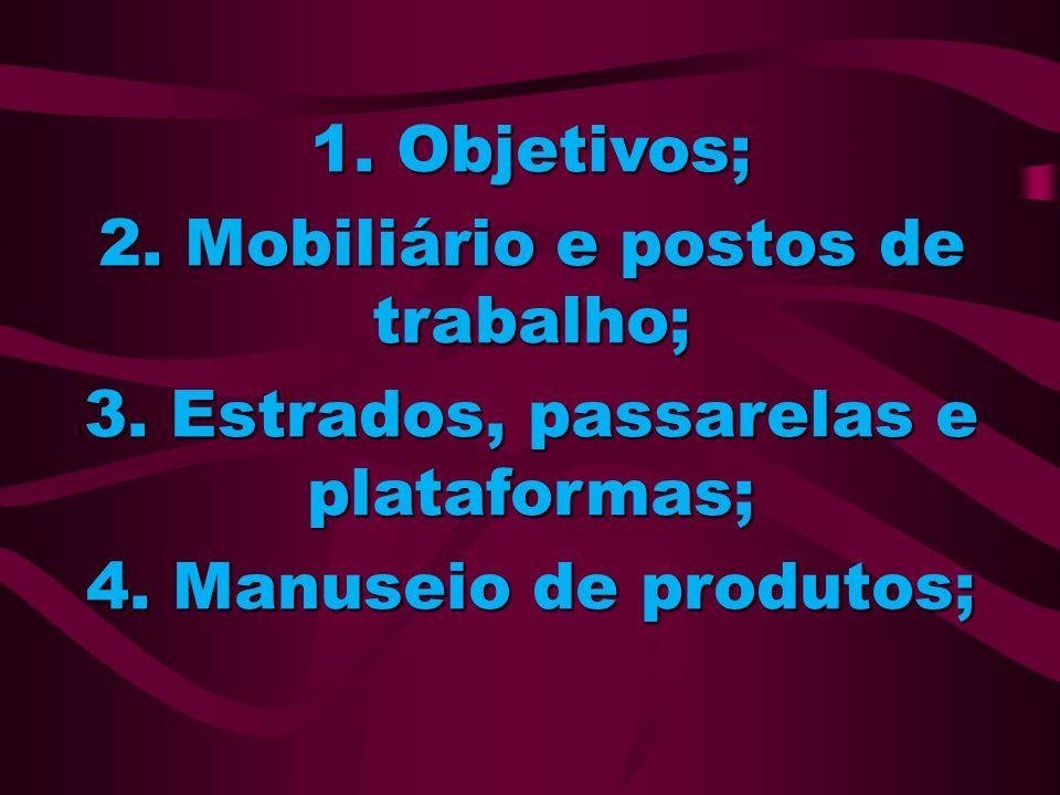 1. Objetivos; 2. Mobiliário e postos de trabalho; 3. Estrados, passarelas e plataformas; 4. Manuseio de produtos;