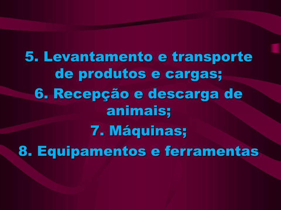 5. Levantamento e transporte de produtos e cargas; 6. Recepção e descarga de animais; 7. Máquinas; 8. Equipamentos e ferramentas