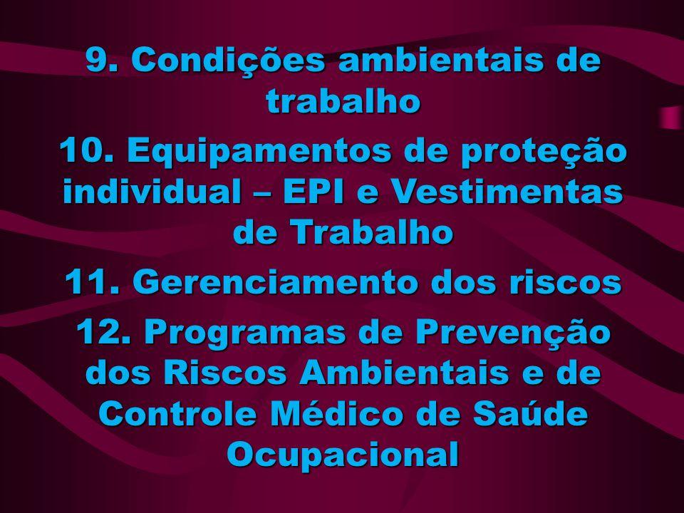 9. Condições ambientais de trabalho 10. Equipamentos de proteção individual – EPI e Vestimentas de Trabalho 11. Gerenciamento dos riscos 12. Programas