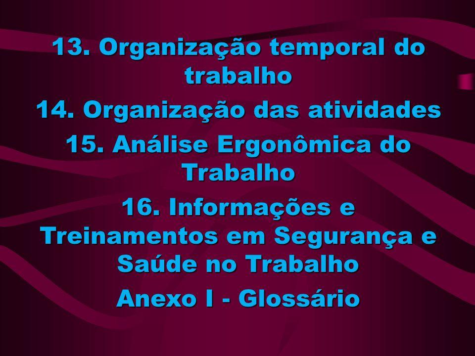 13. Organização temporal do trabalho 14. Organização das atividades 15. Análise Ergonômica do Trabalho 16. Informações e Treinamentos em Segurança e S
