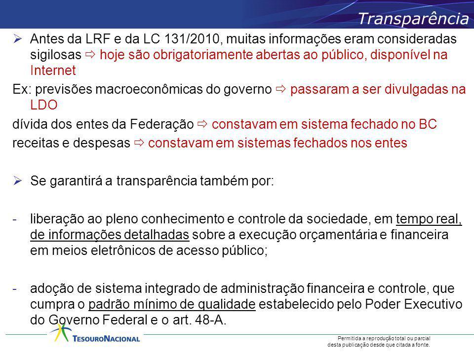 Permitida a reprodução total ou parcial desta publicação desde que citada a fonte. Antes da LRF e da LC 131/2010, muitas informações eram consideradas