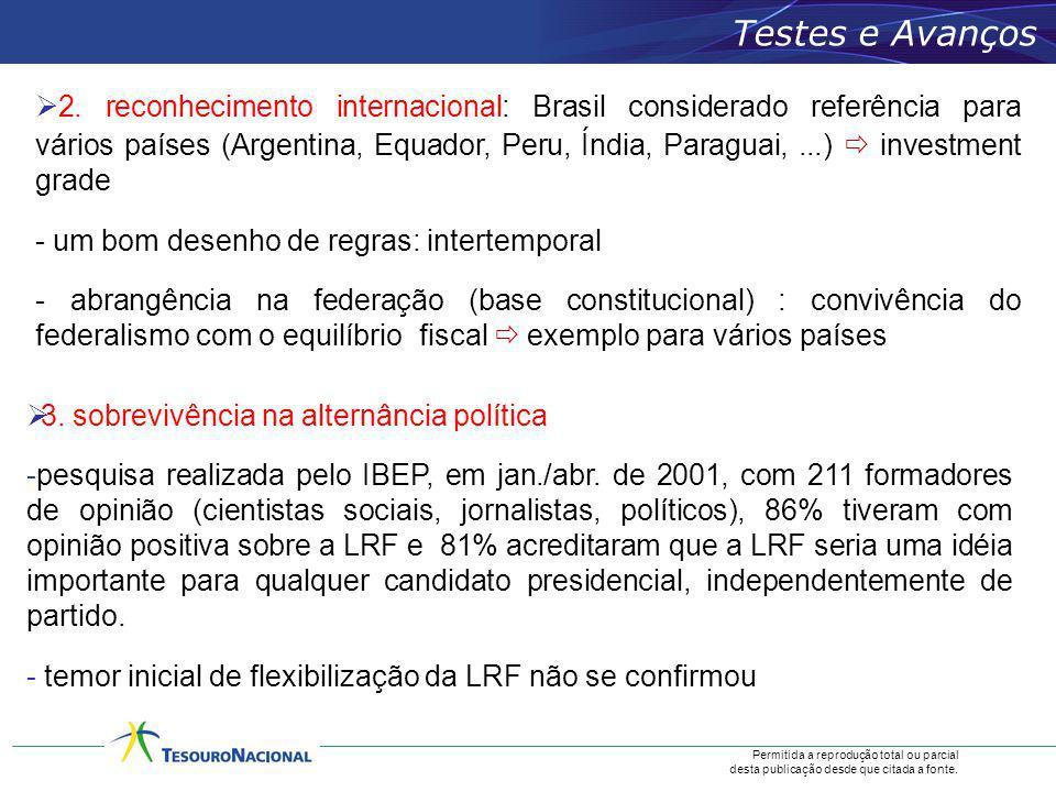 Permitida a reprodução total ou parcial desta publicação desde que citada a fonte. 2. reconhecimento internacional: Brasil considerado referência para