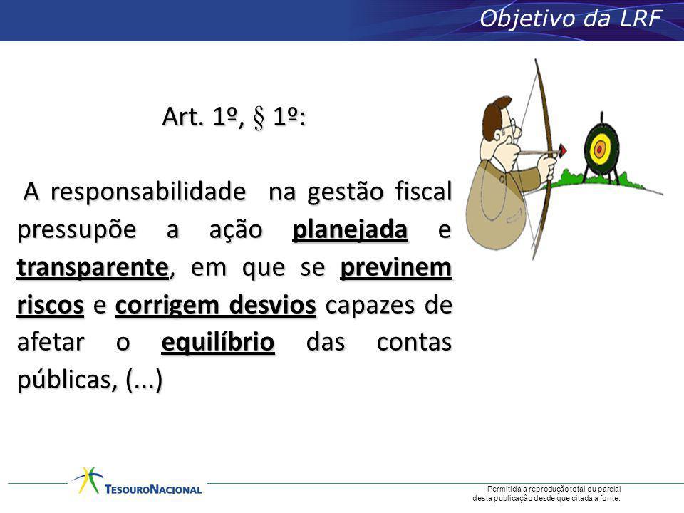 Permitida a reprodução total ou parcial desta publicação desde que citada a fonte. Objetivo da LRF Art. 1º, § 1º: A responsabilidade na gestão fiscal