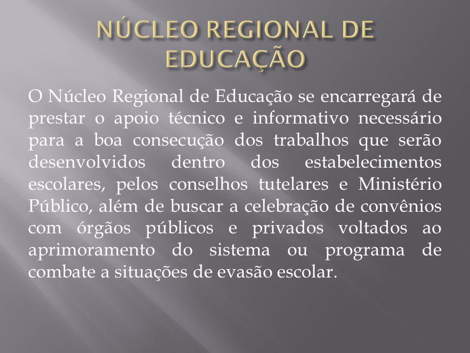 O Núcleo Regional de Educação se encarregará de prestar o apoio técnico e informativo necessário para a boa consecução dos trabalhos que serão desenvo